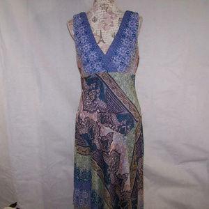 Dressbarn Maxi Long Dress 14 Sleeveless Asymmetric